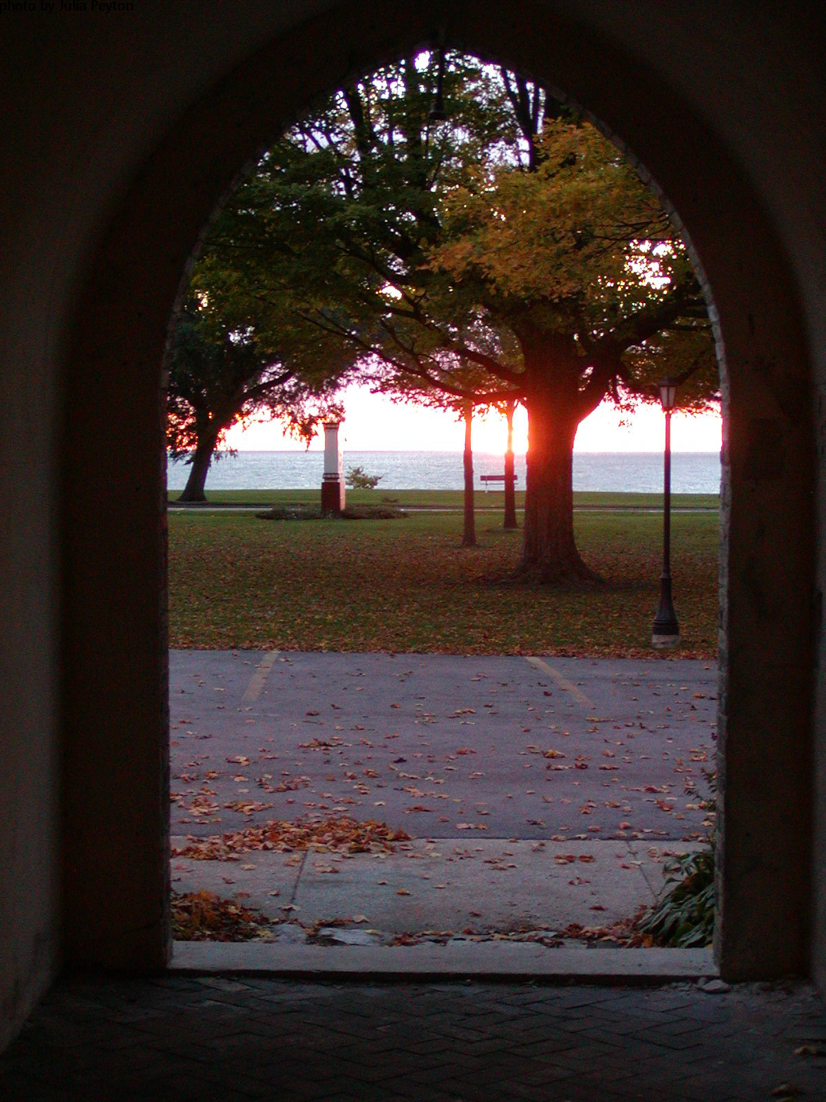 DeKoven Center sunrise thru cloister 007